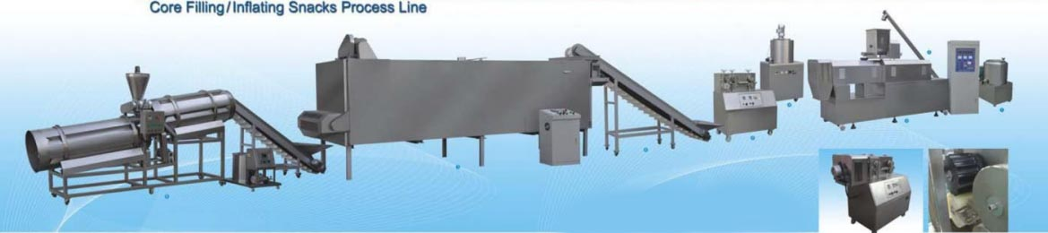 Core Fillling , Inflating Snacks Process Line