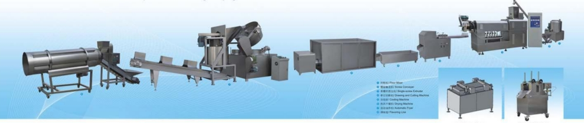 Srew,shell,chips,pellet extruding dan frying process line